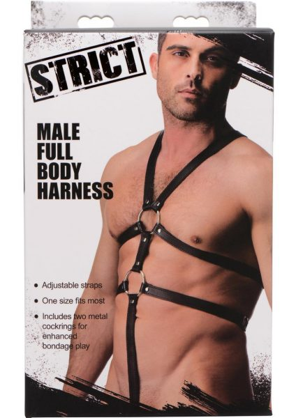 Strict Male Full Body Harness Adjustable Straps Black