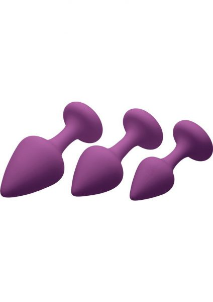 Frisky Purple Pleasures Silky Silicone Anal Plugs 3 Sizes Per Set