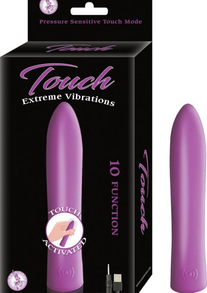 Touch Extreme Vibrations Touch Activited Silicone Vibe Waterproof Purple 5 Inch