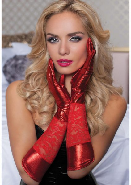 Lace And Lame Elbow Length Gloves-red- O/s