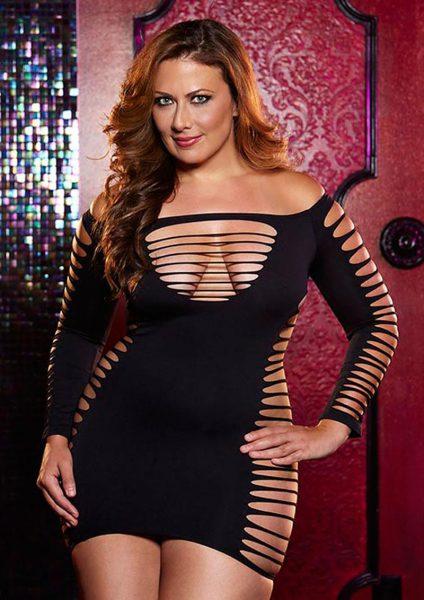 Single Lady Mini Dress – Black – Plus