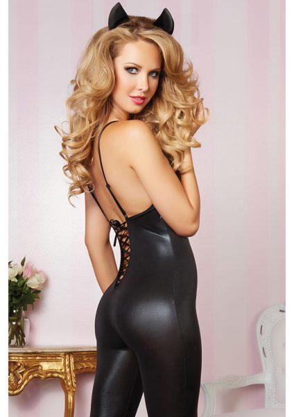 Leather And Lace-bodysuit-black-l/xl