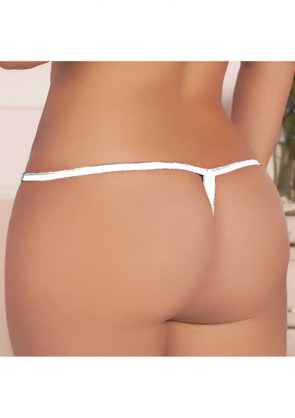Madame Butterfly Thong - White - X