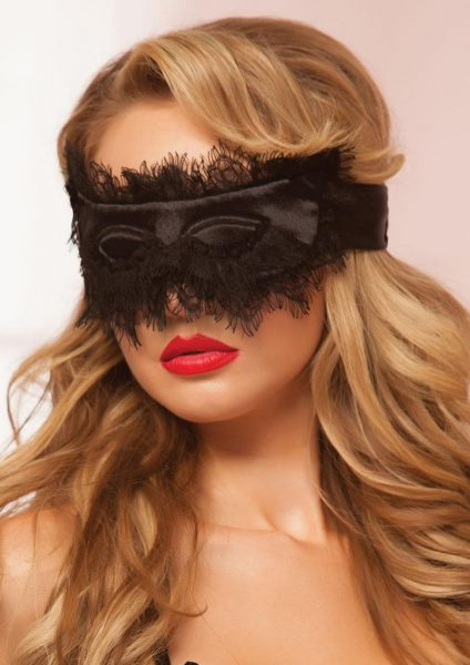 Satin And Lace Eyelash Mask – Black – Os