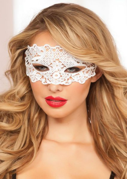 Galloon Lace Eye Mask – White – O/s