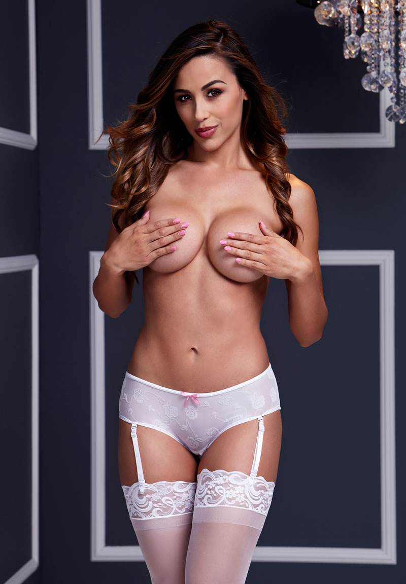 White Rose Open Crotch Boyshort Panty Lg