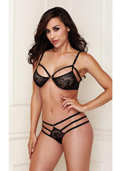 Black Lace Bralette with Strappy Panty Medium / Large