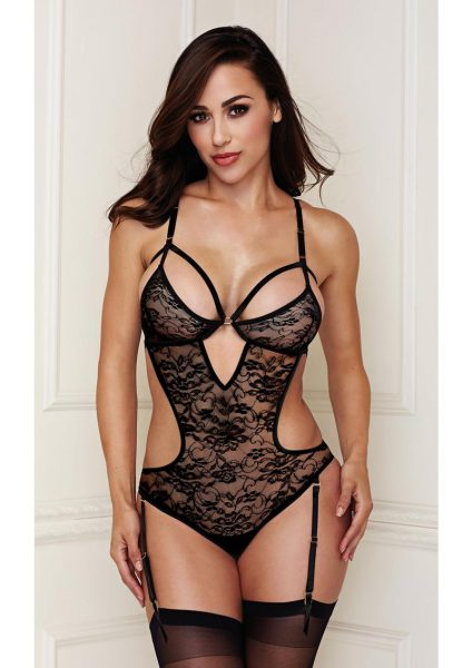 Sexy Lace Teddy With Garters Black Medium / Large