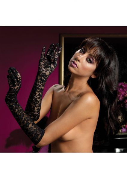 Lace Elbow Length Gloves-black O/s