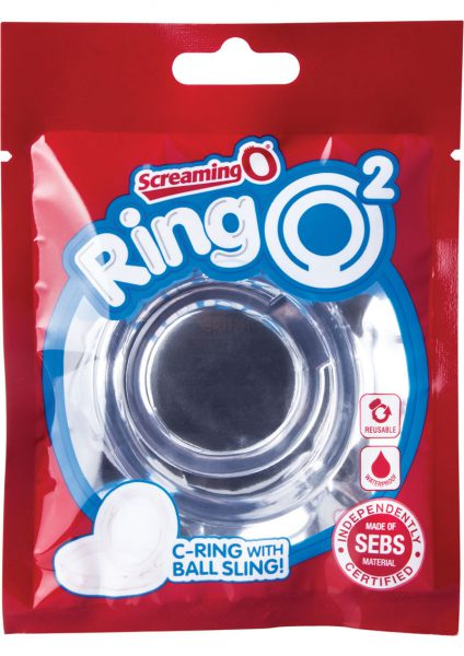 Ring O 2 Cockring With Ball Sling Waterproof Clear 12 Each Per Box