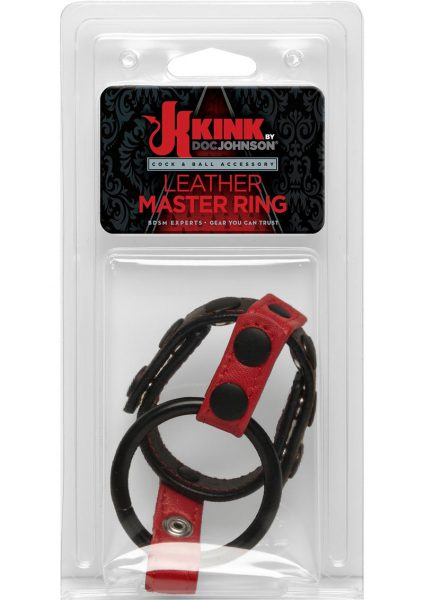 Kink Leather Master Ring Cock and Ball Accessory Red And Black