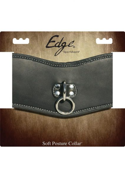 Edged Leather Soft Posture Collar Adjustable Black