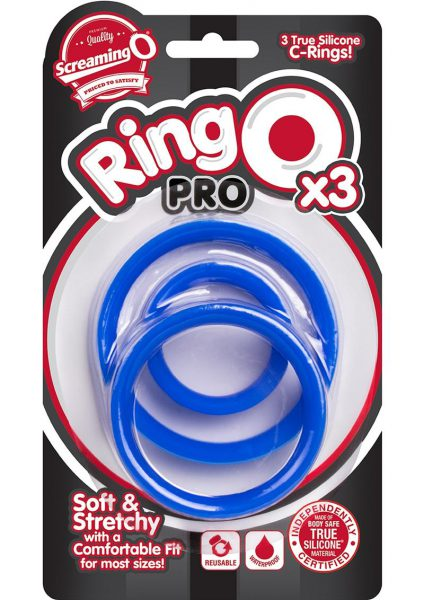 Ringo Pro X3 Silicone Cock Rings Set Waterproof Blue 3 Piece Pack