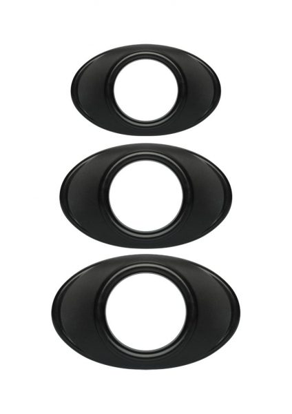 Optimale Easy Grip C-Ring Set Silicone 3 Each Per Set Black