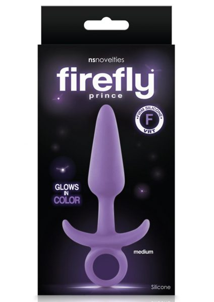 Firefly Prince Glow In The Dark Firm Silicone Medium Anal Plug Purple 5 Inch