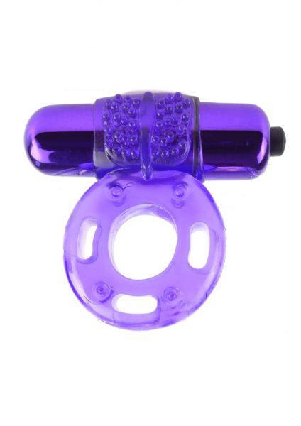 Fantasy C-Ringz Vibrating Super Ring Textured Cockring Waterproof Purple 2.32 Inch Diameter
