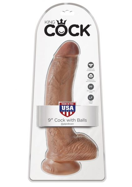 King Cock Realistic Dildo With Balls Tan 9 Inch