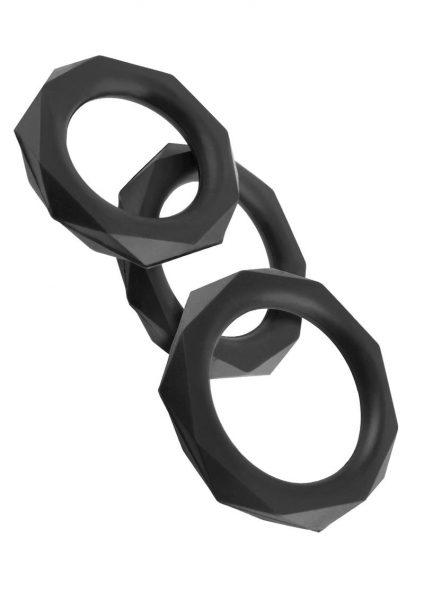 Fantasy C-Ringz Silicone Designer Stamina Cockring Set Black 3 Assorted Sizes Per Set