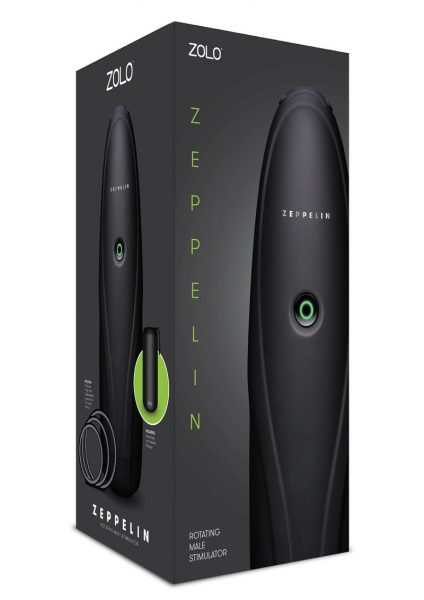 Zolo Zeppelin Rotating Male Stroker Textured Masturbator Black