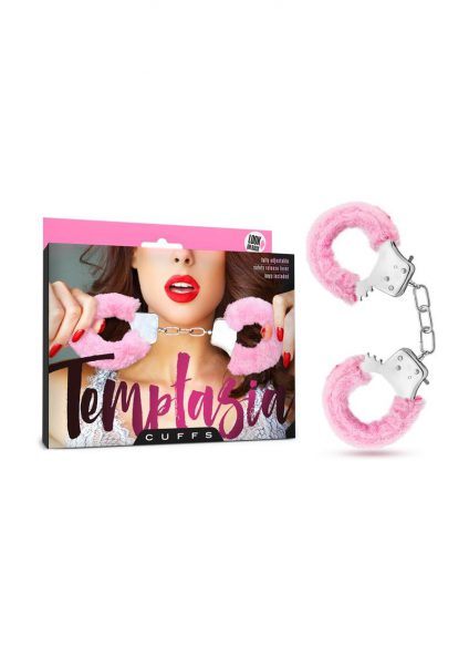 Temptasia Cuffs Adjustable Furry Hand Cuffs With Keys Pink