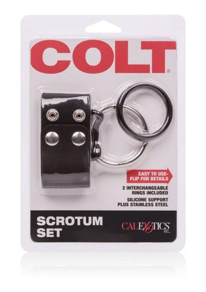 Colt Scrotum Set Adjustable Snap Fastener With Stainless Steel Cock Ring.