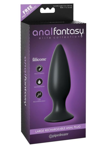 Anal Fantasy Elite Silicone Rechargeable Plug Waterproof Black Large