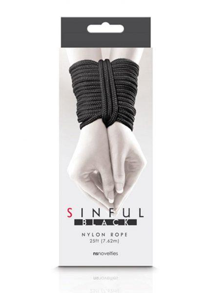 Sinful Nylon Rope Black 25 Feet