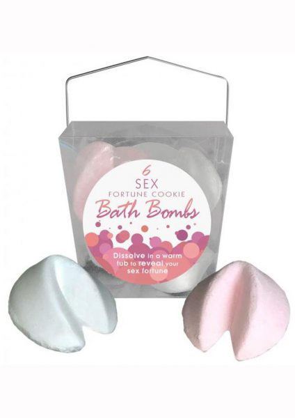 Sex Fortune Cookie Bath Bombs 3 White Vanilla and 3 Pink Strawberries and Cream Per Box