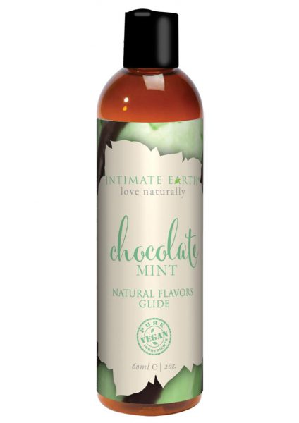 Intimate Earth Natural Flavors Glide Chocolate Mint 2 Ounces