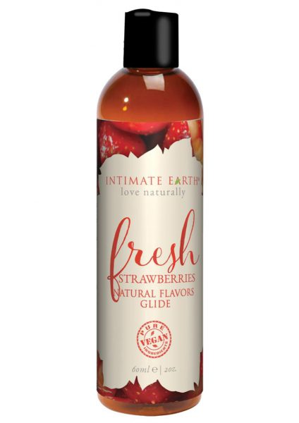 Intimate Earth Natural Flavors Glide Fresh Strawberries 2 Ounces