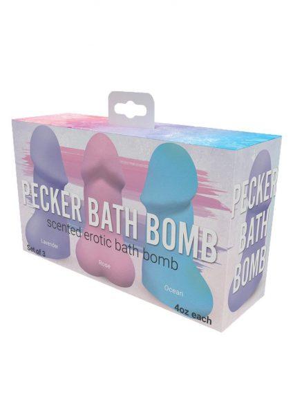 Pecker Bath Bomb Scented Erotic Bath Bomb Set of 3 Assorted Colors 4 Ounce Each
