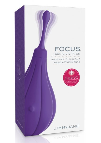 JimmyJane Focus Sonic Vibrator  With Attachments USB Rechargeable Splashproof Purple 4.7 Inch