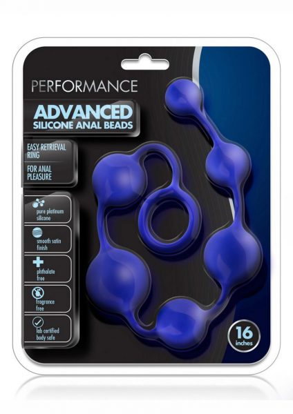 Performance Silicone Anal Beads 16 Inch Indigo