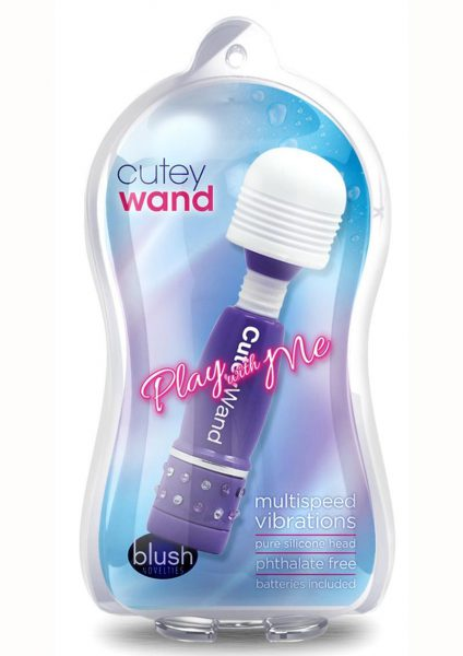 Play With Me Cutey Wand Mini Massager Mullti Speed  Purple 4 Inches