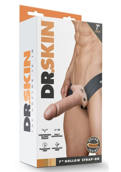 Dr. Skin Hollow Strapon Non Vibrating Flesh 7 inch