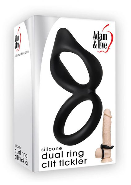 Silicone Dual Ring Clit Tickler Black Cock Ring Waterproof
