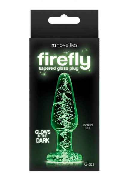Firefly Tapered Glass Plug Small Glows in the Dark Clear