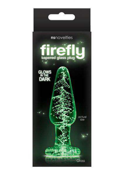 Firefly Tapered Glass Plug Medium Glows in the Dark Clear
