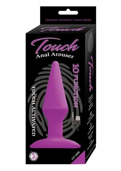 Touch Anal Arouser 10 Function USB Rechargeable Touch Activated Anal Plug Waterproof Purple 5 Inches