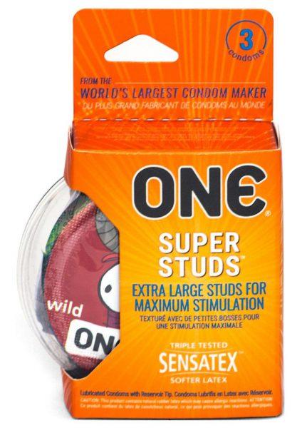 One Super Studs Lubricated Latex Condoms 3-Pack