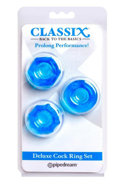 Classix Deluxe Cock Ring Set Blue