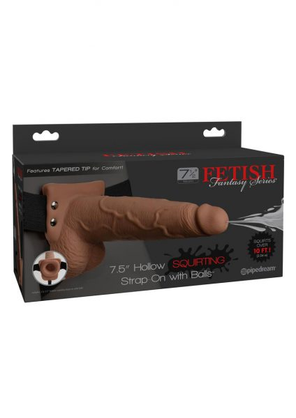 Fetish Fantasy Hollow Squirting Strap-On With Balls Tan 7.5 Inches