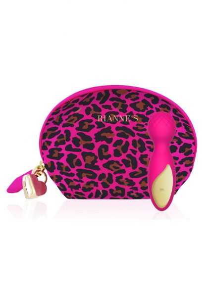 Rianne S Lovely Leopard Rose Mini Wand Massager Multi Speed Silicone Waterproof  Rechargeable Pink