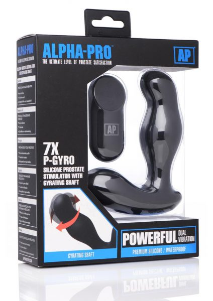 Alpha-Pro 7x P-Gyro Silicone Prostate Stimulator With Gyrating Shaft Waterproof