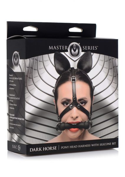 Master Series Dark Horse Pony Head Harness With Silicone Bit Adjustable