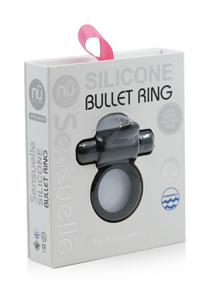 Nu Sensuelle Silicone Bullet Ring With Clit USB Stimulator Rechargeable Multi Speed Black
