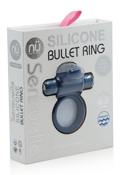 Nu Sensuelle Silicone Bullet Ring With Clit Stimulator USB Rechargeable Multi Speed Blue