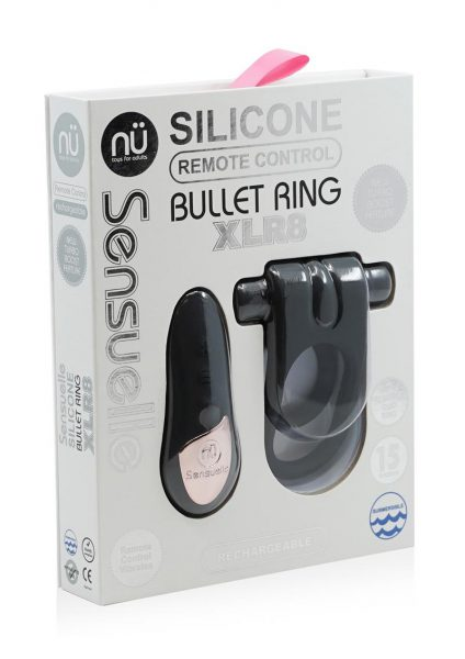Nu Sensuelle Silicone Bullet Ring Remote Control Rechargeable Cockring Black