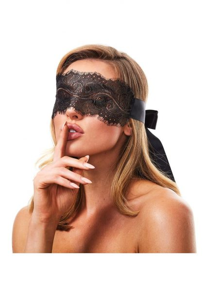 Secret Kisses Boudoir Lace Blindfold Black