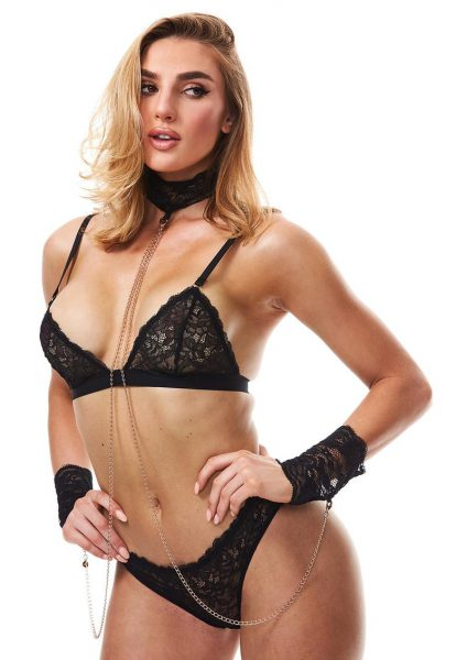 Secret Kisses Boudoir Lace Collar and Cuffs With Chain Black